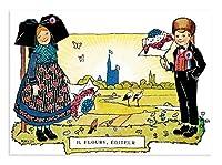 Hansi(ハンジ) ポストカード (花束を持つ女の子と男の子)