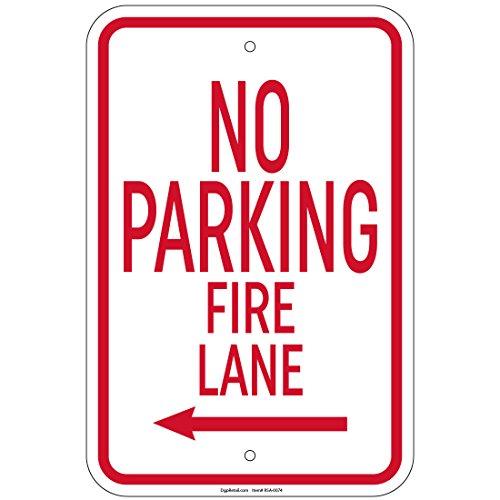 "Heavy Gauge No Parking Fire Lane with left arrow Sign 12"" x 18"" Aluminum Signs"