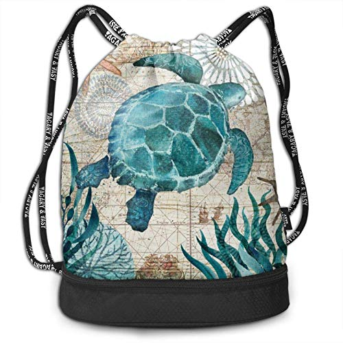XCNGG Drawstring Backpack,Ocean Sea Turtle Starfish Print Sport Travel Gym Bundle Backpack Bag