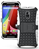 NAKEDCELLPHONE'S White Grenade Grip Rugged TPU Skin Hard CASE Cover Stand for Moto-G 2nd GEN 2014 (Moto-G 2nd Generation (2014) Moto-G2, 2nd Gen, G+1, Unlocked XT1068)