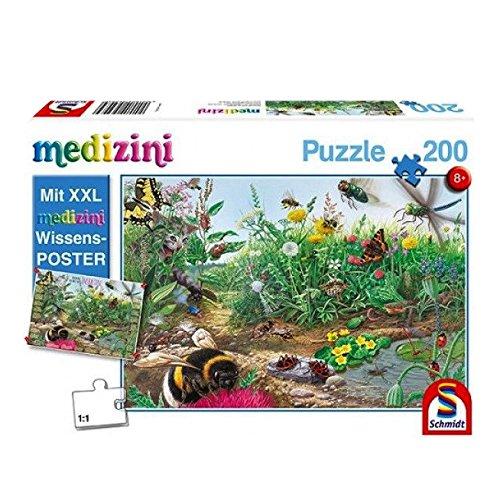Schmidt Spiele Puzzle 56293 Kinderpuzzle, Entdecke die Welt der Insekten, Medizini (inklusive Poster), 200 Teile