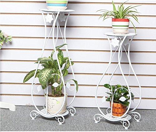 QFF Étagère à fleurs en fer de style européen salon étages intérieur à plusieurs étages salon Chlorophytum étagère en pot fleur fleur verte ( Couleur : Blanc , taille : 26*21*66cm )