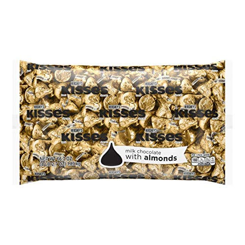 HERSHEY'S KISSES Chocolate Candy with Almonds, Halloween Candy, 4.1 Pounds Bulk Candy