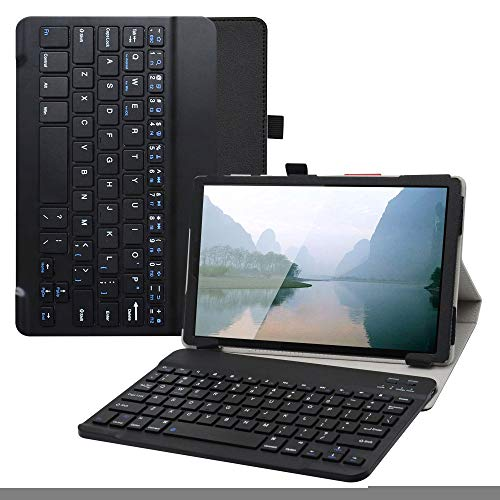 Labanem Lenovo Tab M10 HD Teclado Funda, PU Estuche con Wireless Teclado Cover QWERTY para 10.1' Lenovo Tab M10 HD (2nd Gen) TB-X306X Tablet - Negro