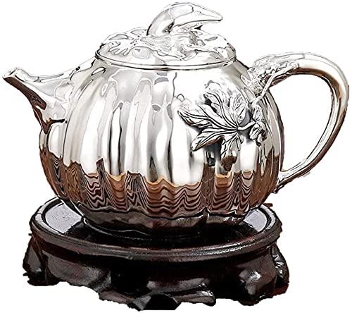 ZQADTU Tetera de Plata Juego de Tetera de Plata Gongfu Antigua Ceremonia China Tetera Cultura Taza de café Vajilla de té para Mujeres