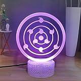 Naruto 3D Anime Night Light, Kakashi Sasuke Rinnegan Sharingan LED Night Lamp per camera da letto, Touch Remote Desk Decor Light, miglior regalo di Natale di compleanno per i bambini