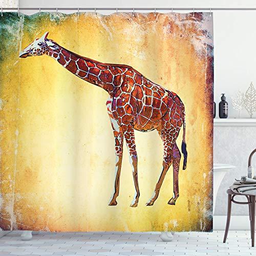 ABAKUHAUS Duschvorhang, Art Giraffe Illustration Aquarell Farbe Afrikanischer Tier Safari Zoo Retro Kunst Druck Art, Blickdicht aus Stoff mit 12 Ringen Waschbar Langhaltig Hochwertig, 175 X 200 cm