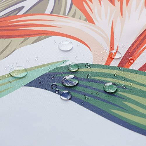 シャワーカーテン北欧風防カビ防水目隠し速乾厚手高級ポリエステル生地遮像浴室バスカーテンお風呂カーテン間仕切りリング付きリーフ柄植物白ins風120x150cm