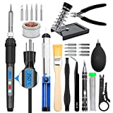 Electronic Soldering Iron Kit, Kingsdun 60W LCD Digital Soldering Gun with Adjustable Temperature Controlled and Fast Heating Ceramic Thermostatic Design, ON-Off Switch 15pcs Solder Kit & Welding Tool