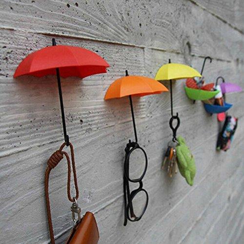 EQLEF Ganci Adesivi da Parete, 6 Pezzi di Ganci da Parete per ombrelli creativi Decorativi per casa/Ufficio-Colore Casuale