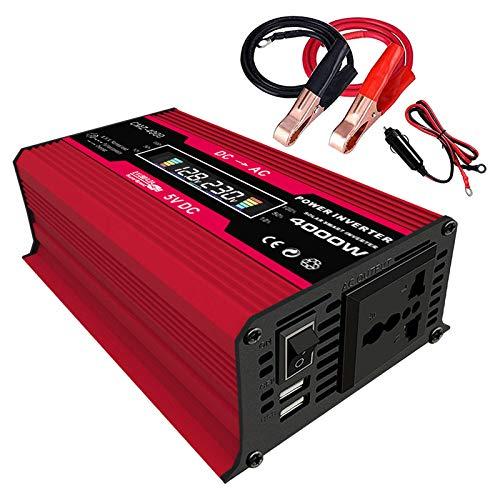 Prettyia 300W 12V DC a / 220V AC Inversor de Corriente para Automóvil Convertidor Solar de Onda Sinusoidal con 4.2A Dual USB - Rojo 110V