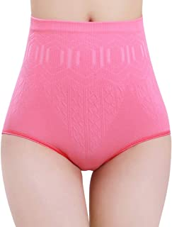 Women High Waisted Briefs Hip Abdomen Shapewear Underwear Tummy Control Trim Panties (Pink)