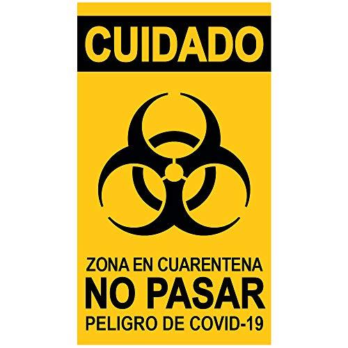 Señal adhesiva'Zona En Cuarentena. COVID-19' en Español para puertas y cristales. 9 x 16 cm