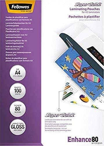 Fellowes 5440001 Super Quick Pochettes de plastification brillantes Capture 80 microns A4 - Pack de 100 Transparent