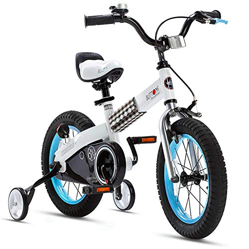 RoyalBaby Boys Girls Kids Bike 16 Inch Buttons Bicycles with Training Wheels Kickstand Child Bicycle Blue