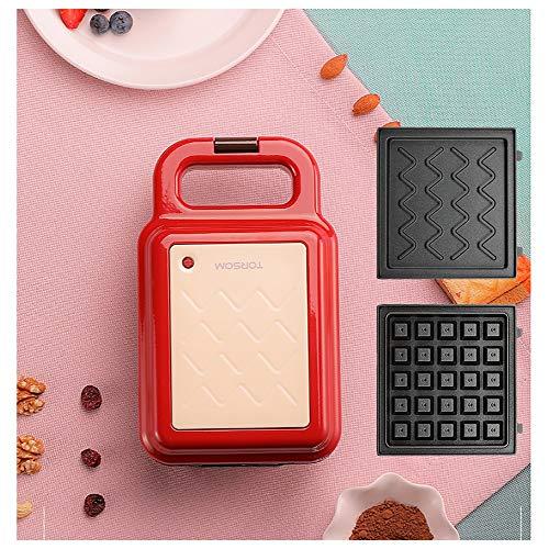 Gaufrier Waffle machine, sandwich, biscuits, pommes de terre rissolées Autre On The Go Petit déjeuner, déjeuner, ou des collations, 2 jeux de plateaux de cuisson gaufrier professionnel (Color : Red)