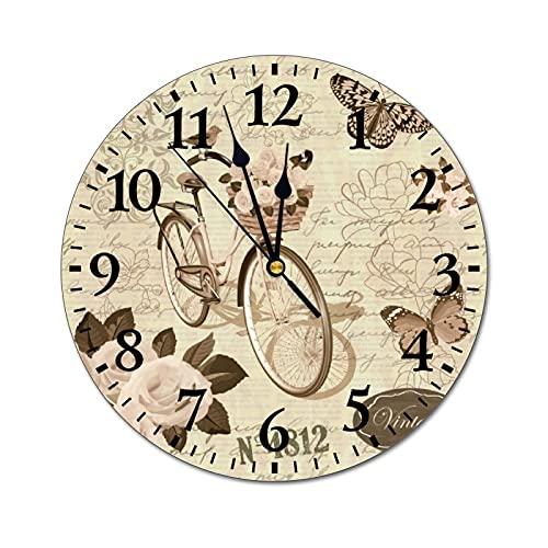 GKAOSPLSR Reloj de pared redondo silencioso de 11.8 pulgadas, funciona con pilas, para decoración de hogar, oficina, escuela, cocina, dormitorio, salón, flores, mariposa y bicicleta