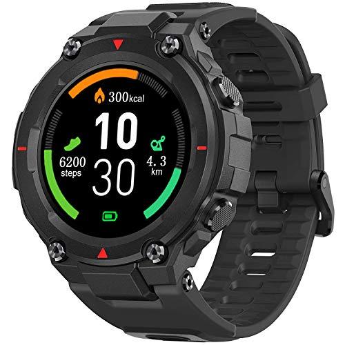 AllCall Model 3 Smartwatch,mit Blutdruck messung Intelligente Uhr IP68 Waterproof,Pulsuhren GPS-Fitness Tracker Uhr Bluetooth,1.28 Zoll Touchscreen Smart Watch für Damen Herren Android iOS(Schwarz)