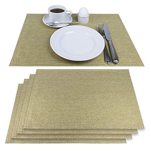 Delindo Lifestyle® Tischsets Platzsets MONDÄN Gold, Glitzer, für Feste und zu Weihnachten, 4er-Set