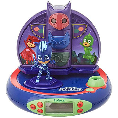 LEXiBOOK PJ Masks Catboy Projector Radio Clock, Built-in Night Light, time Projection onto The Ceiling, Sound Effects, Battery-Powered, Blue/Purple, RP500PJM