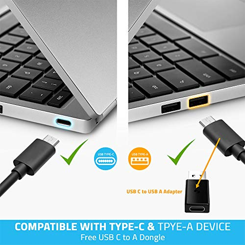 MediaGear USB C Docking Station w/ 45W Laptop Power Delivery: Dual HDMI+DisplayPort, USB 3.0/2.0, Ethernet, Audio/Mic Jack, Bundle: 65W AC Adapter, C-C Cable, C-A Dongle for Mac & Windows OS