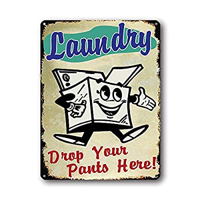 Goutoports Laundry Room Vintage Metal Sign 11.8x15.7 Inch Drop Your Pants Here Decorative Signs Wash Room Home Decor Art Signs