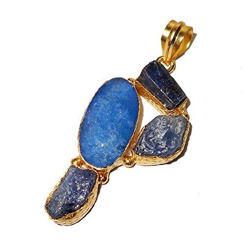 Bhagat Jewels - Colgante de Oro de 18 Quilates con corindón Azul Vermeil, tanzanita y Piedra de cianita