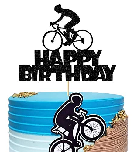 Anxdh Black Flash Happy Birthday Cake Topper, Birthday Party Cake Decoration, Sports Themed Cake Topper (Bicycle)