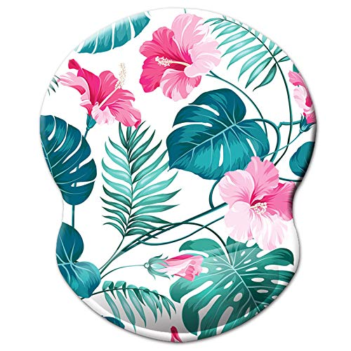 Ergonomic Design Mouse Pad with Wrist Rest Support, Knocent Cute Wrist Mouse Pad with Lycra Cloth, Non-Slip PU Base Mouse Mat, Pain Relief Mousepad for Gaming & Working (Wrist Hibiscus Flower)
