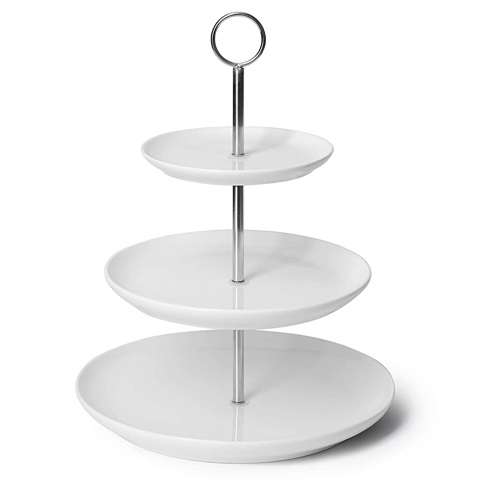 【Flash Deal】Sweese 3316 3 Tier Cupcake Stand- White Porcelain Cake Stand- Dessert Stand/ tiered Serving Trays for Parties