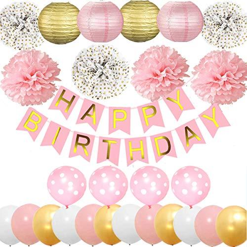 Jolily Decoraciones Fiestas cumpleaños Suministros Paquete Rosa niñas Feliz cumpleaños, Banner, Papel Linternas, Flores de Lunares, Globos Oro Blanco Brillante Rosa, Regalos para Mujeres de niños