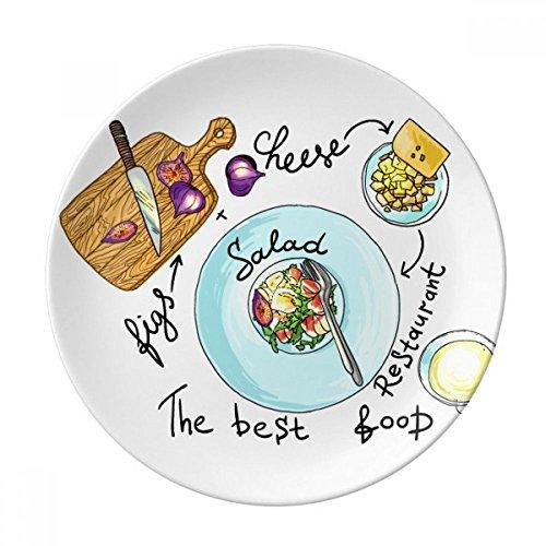 DIYthinker Salade Fromage France Restaurant Figures décoratives en Porcelaine Assiette à Dessert 8 Pouces Dîner Accueil Cadeau 21cm diamètre Multicolor