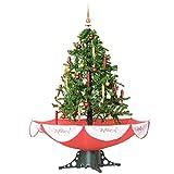 HOMCOM Árbol de Navidad 140cm Artificial Árbol con Luces LED con 25 Canciones 40 Bombillas Escena de Nieve Verde Natural Material PVC