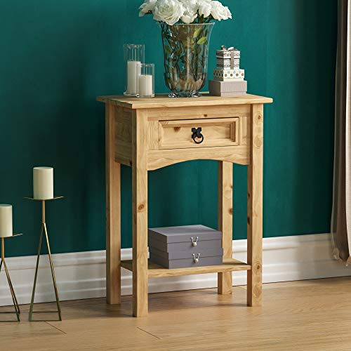 Vida Designs Corona 1 Drawer Console Table With Shelf, Waxed Pine