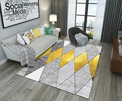 HXJHWB living room with rugs in short pile area - Modern indoor simple diamond-shaped stitching short pile carpet multi-color gradient easy care-140CMx200CM