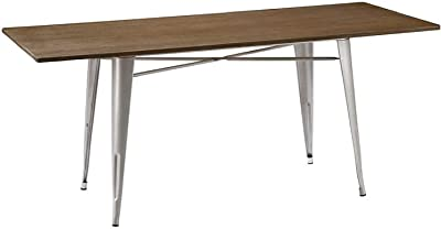 Cafe Pro Silver Tolix Table with Wooden Top of Size 180cm X 80cm X 75cm, Bamboo Wood Silver Dining Table, Rectangular Style Table, Kitchen, Dining Room, Modern Cafe with Sturdy and Durable Design