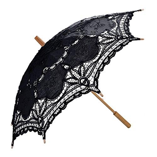 Sonnenschirm Spitze, Coofit Brautschirm Damen Regenschirm Hochzeit Gesticktes Cotton Vintage Sonnenschirm Hochzeit