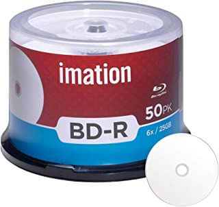 50 Pack Imation BD-R 6X 25GB Blu-ray White Inkjet Hub Printable Blank Media Data Movie Game Recordable Disc