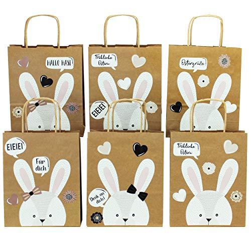 Papierdrachen XXL Geschenktüten für Kinder zu Ostern - Osterdeko - Kreatives Osternest mit 6 Papiertüten und süßem Hasengesicht - Set Nummer 2