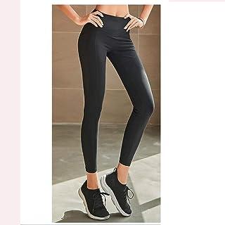 HXLG Womens Leggings Yoga Pants,with Pocket High Waist Running Pants Workout Capris Pants (Color : Black, Size : M)