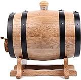 JLDN 5L Barril de Vino, Barril de Madera de Roble Envejecimiento Barril con Grifo con Filtro Kit de elaboración del Vino for su Almacenamiento o envejecimiento del Vino,Natural Color