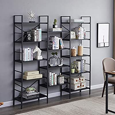 SUPERJARE Triple Wide 5-Tier Bookshelf, Rustic Industrial Style Book Shelf, Wood and Metal Bookcase Furniture for Home & Office