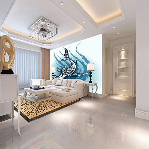 Muurschildering Non-geweven blauwe haai foto behang 3D muur muurschildering niet-geweven moderne muur poster foto huisdecoratie voor slaapkamer kantoor keuken zwart vrijdag 400cmx280cm Blauw