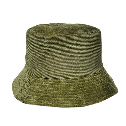 Otoño e Invierno Campana cálida Femenino Pescador Cap Cordura Sólido Color Sombrero Japón Simple Sun Hat Retro Ropa de Doble Cara MENGN (Color : Army Green, Size : 56-58cm)