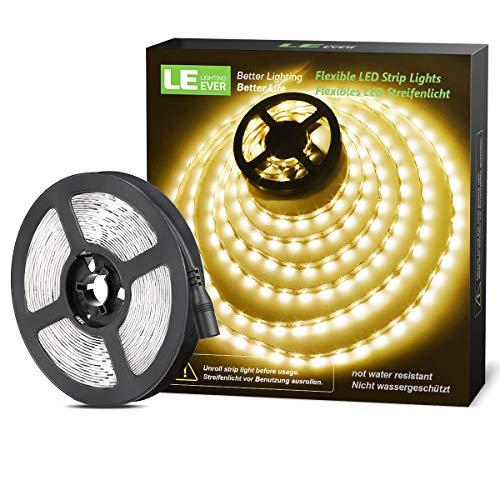 LE LED Streifen 12V Selbstklebend, 5m Leiste mit 300 Stück 2835 LEDs, 3000 Kelvin 1200 Lumen Warmweiß DIY Flexibel LED Band für Innen Heim Küche usw.