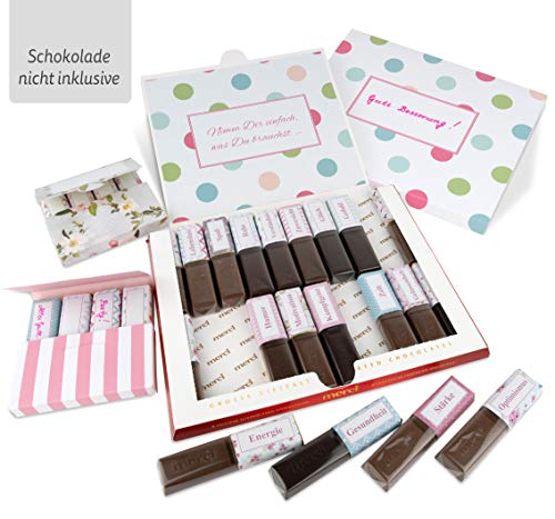 Netti Li Jae ® Aufkleber Set für Merci Schokolade inkl. Mini Schachteln – für 3 personalisierte Geschenke – persönliche Geschenkidee – Dankeschön Geschenke (Aufmunterung)