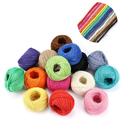 15 Roll Natural Jute String 410 Yards HULISEN Jute Twine DIY Crafts 1230 Feet Picture Display and Embellishments Gift Wrapping Twine 2mm 3 ply Twine String for Artworks