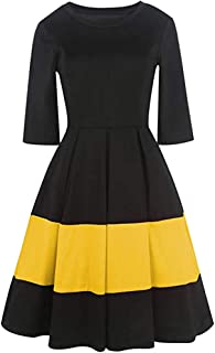 RoDeke Ladies Summer Short Sleeve Striped T-Shirt Mini Dress Work Office Skirt