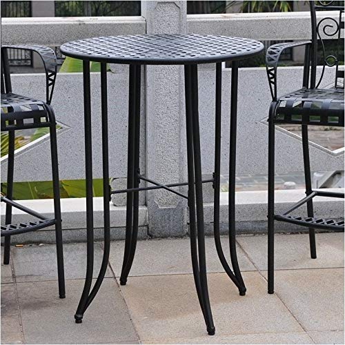 Pemberly Row Iron Antique All-Weather 40' Bar-Height Outdoor Patio Table, Black