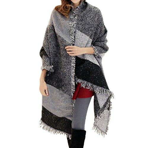 FENTI Damen Maedchen Langer Schal 250cm*65cm Deckenstoffschaln Schalcape Winter Schal mit Fransen und spitzen Enden XXL Grau und Schwarz